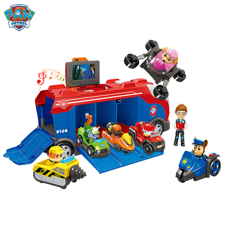 Paw Patrol Toy Set Puppy Patrol Bus Mobile Rescue Patrulha Canina Deformation Psi Action Figure Toys For Children Christmas Gift