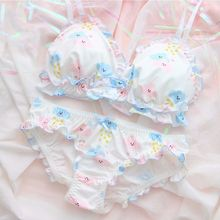 Japanese Lingerie Sexy Lolita Ultra Thin Bra and Panty Set Underwear Women Young Girls Cute Wire Free Bra Thong Lace Sleepwear french style women sexy bra and panty set lace bralette retro underwear ultra thin lingerie wire free bra thong set intimates