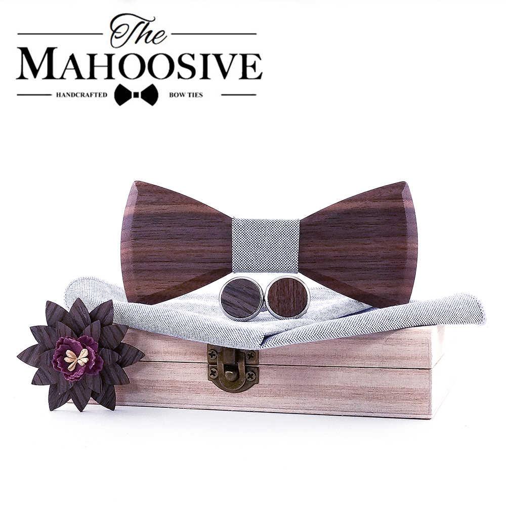 Ahşap papyon mendil seti ile erkekler kol düğmeleri yaka çiçek çiçek tasarım ahşap kutu moda yenilik erkek bağları
