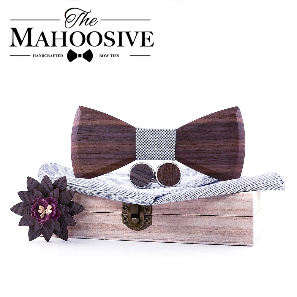 Wooden Bow Tie Handkerchief Set Men With Cufflinks Lapel Flowers Floral Design Wood Box Fashion Novelty Men Ties