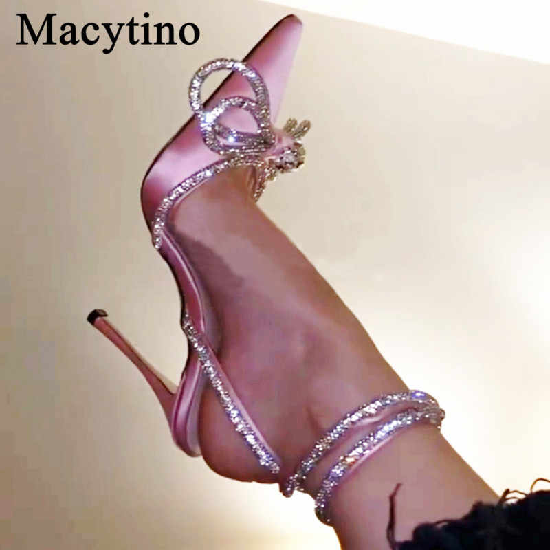 Chic Satin Wedding Shoes Ankle Beading Strap Pointed Toe High Heel Slingbacks Shoes Women's Hot Selling Summer Sandals  Shoes