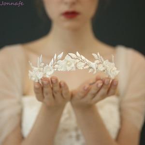 Image 1 - Flor de porcelana de moda, corona de boda, Tiara para el cabello nupcial, tocado de hojas de Color plateado, accesorios para baile de graduación, joyería para el cabello