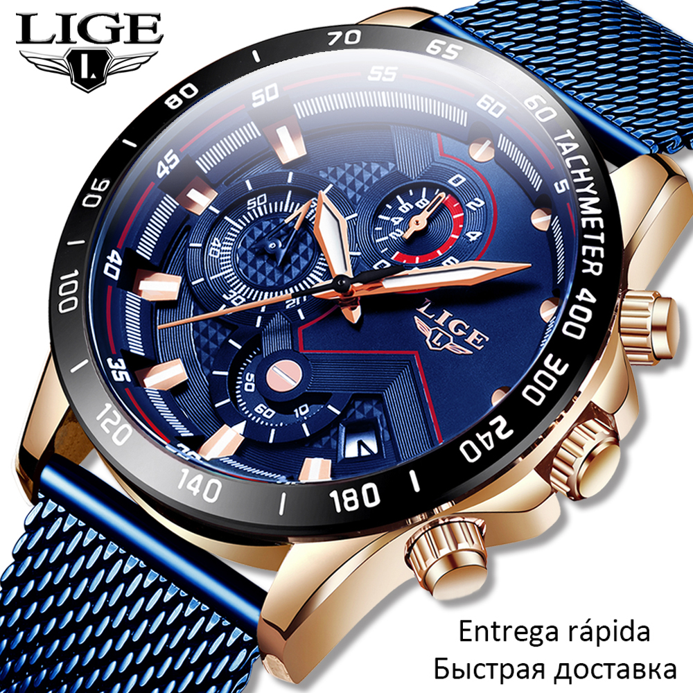 LIGE Fashion Dress Mens Watches Luxury WristWatch Quartz Clock Black Watch Men 30mWaterproof Sport Chronograph Relogio Masculino