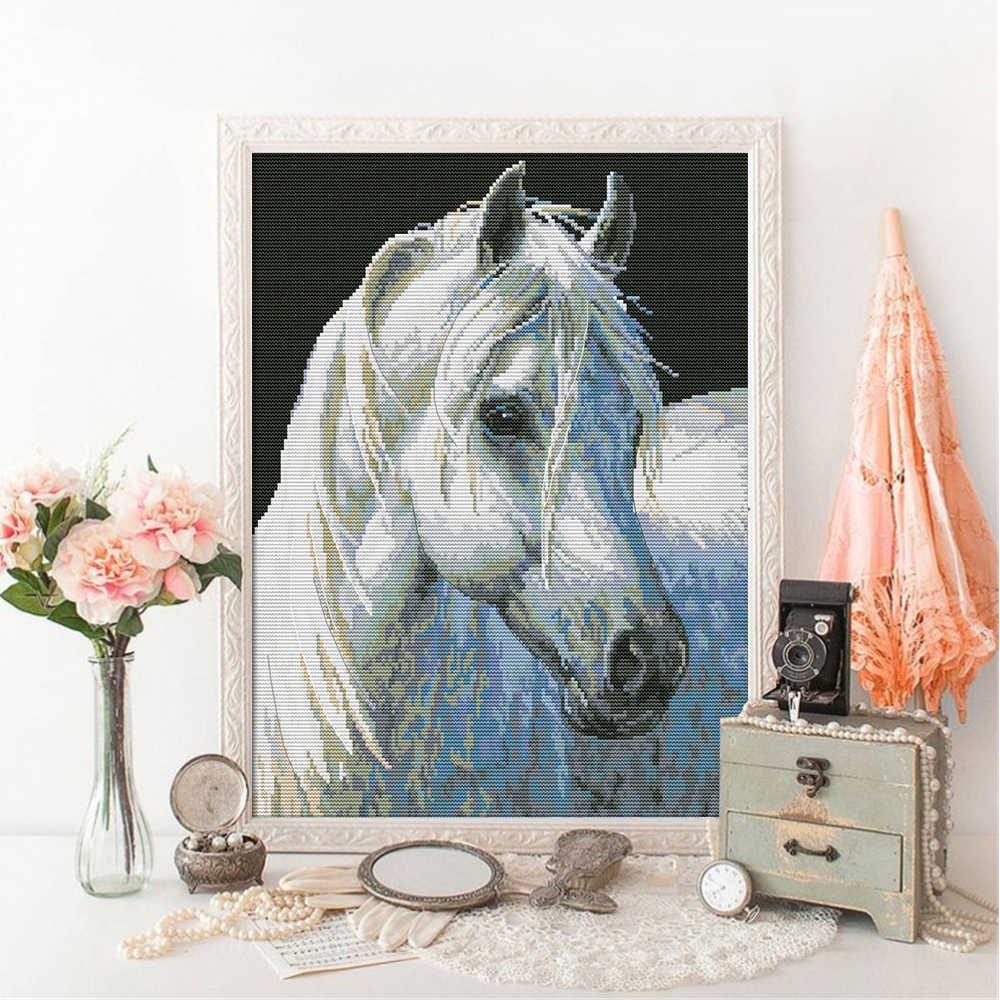 HUACAN Punto Croce Animale 11CT 14CT Punto Croce Imposta Bianco della Tela di canapa Cavallo Del Ricamo Ricamo Artigianato