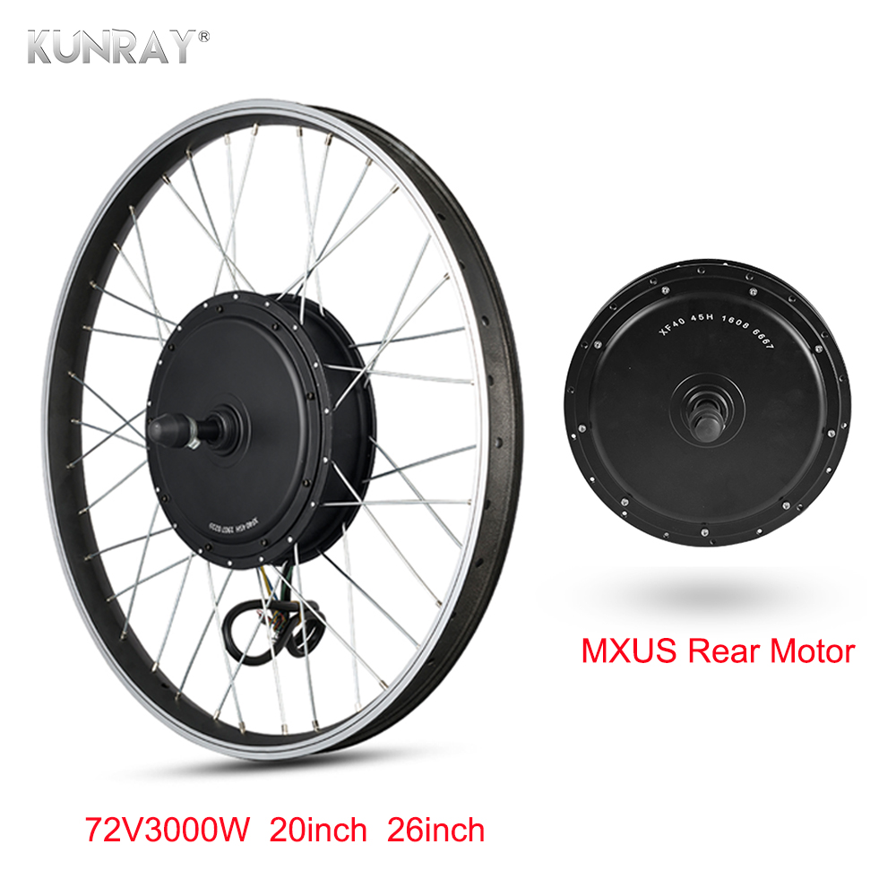 MXUS <font><b>3000W</b></font> Hub <font><b>Motor</b></font> 72V Electric Bike <font><b>Motor</b></font> <font><b>Brushless</b></font> Non-Gear <font><b>Motor</b></font> Ebike Conversion Kit Rear Wheel 26 <font><b>Motor</b></font> Wheel For Bicycle image
