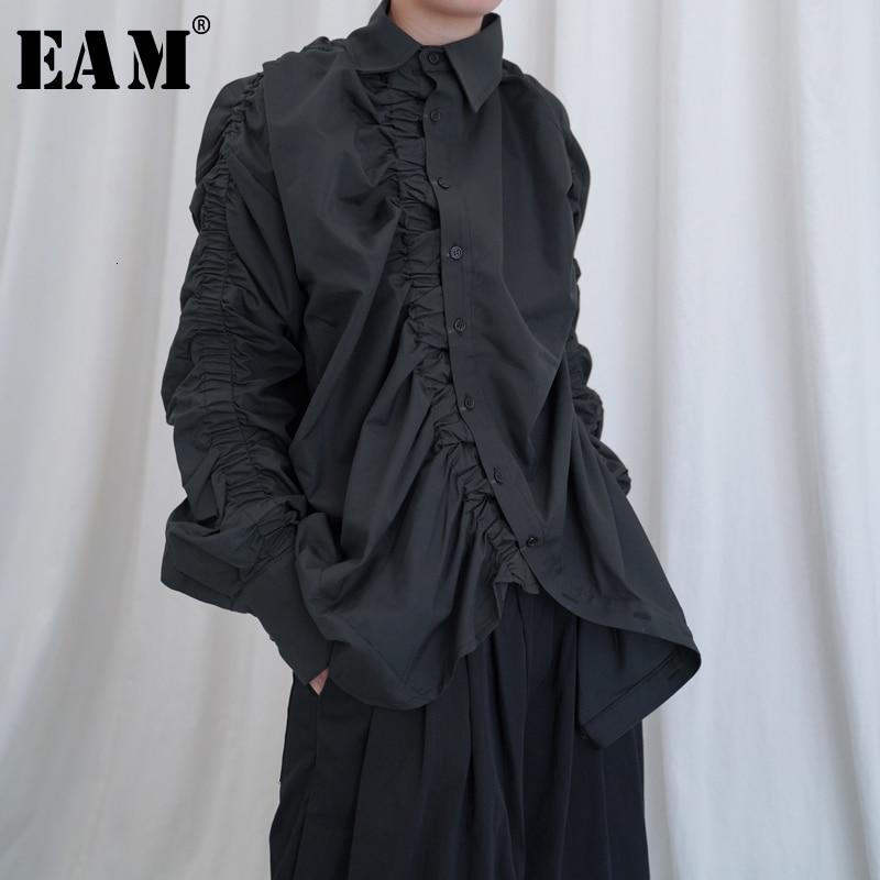 [EAM] femmes plissé fendu Joint surdimensionné Blouse nouveau revers à manches longues coupe ample chemise mode marée printemps automne 2020 1B650