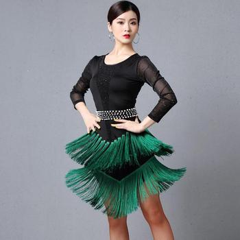 Hot Brand Red Latin Dance Costumes Women Salsa Dancewear Dance Costume Dresses Ballroom Competition Dresses Tango Adult Fringe