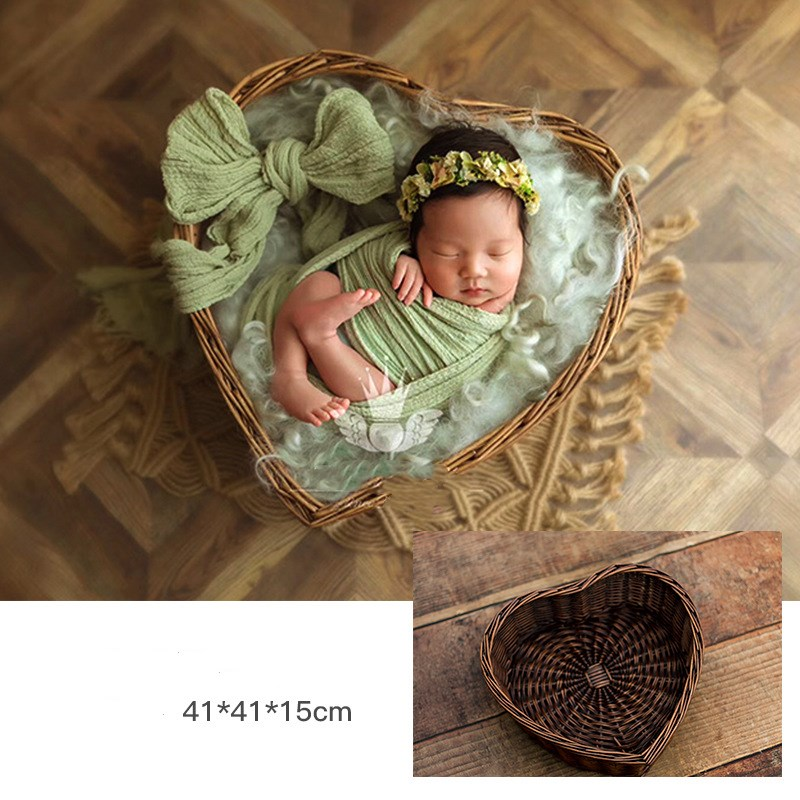 New Newborn Photography Props Box Container Studio Shooting Props Heart-shaped Woven Basket Baby Photo Props Kids Toys For Child
