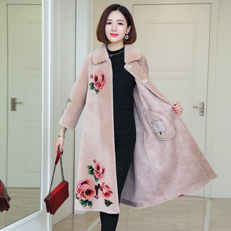 Shearling Sheep Real Fur Coat Winter Jacket Women Mink Fur Collar 100% Wool Coat Print Korean Long Coat Manteau Femme MY