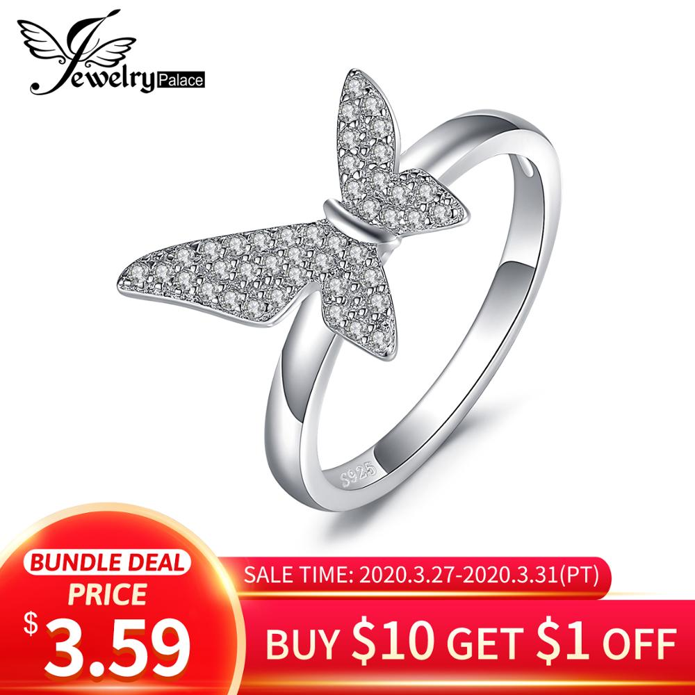 JewelryPalace Asymmetry Geometric Butterfly Cubic Zirconia Promise Ring 925 Sterling Silver Rings For Women Gifts Fine Jewelry