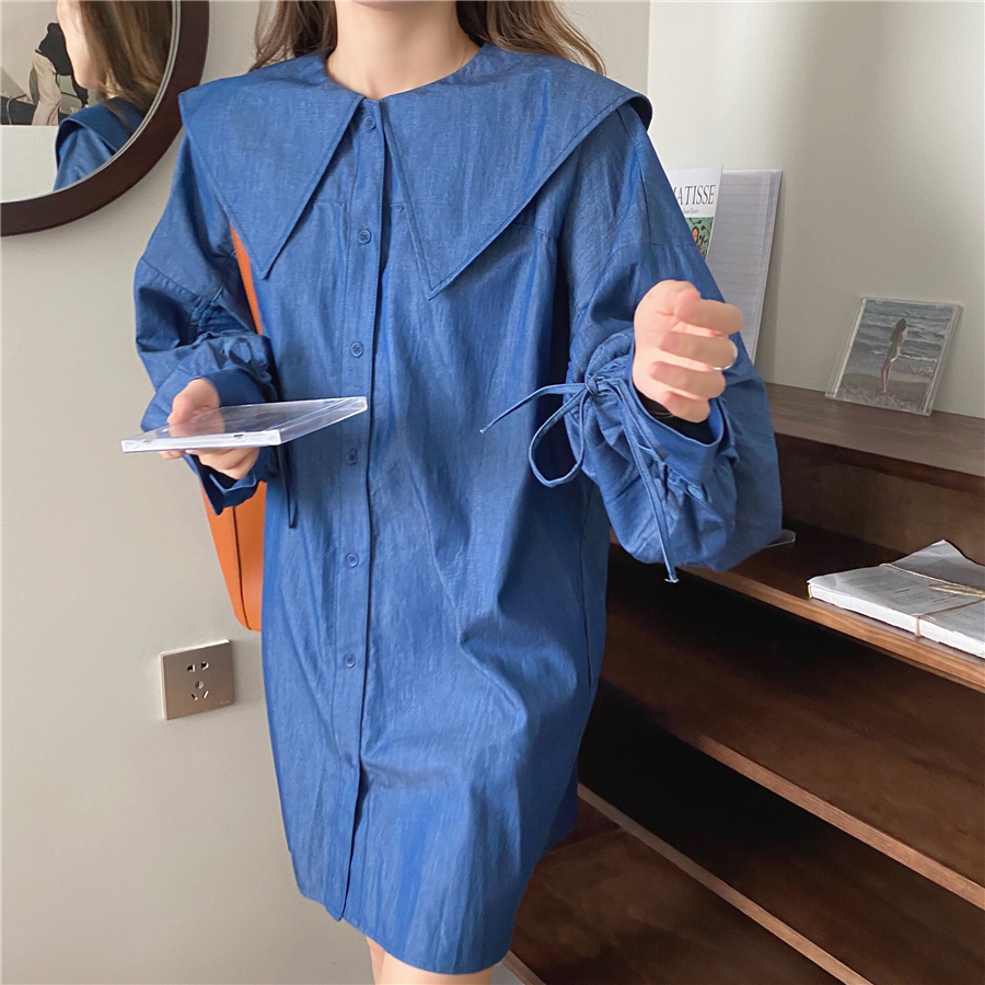H3f7151d906e54d16841ae7279a864343y - Autumn Korean Big Lapel Collar Long Sleeves Drawstrings Solid Mini Dress