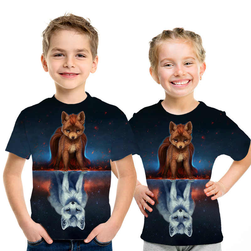 4 t-14 t ベビー服 3d-printed 双頭ウルフ動物キッズ tシャツ夏のファッションのクマの動物の少年女の子ストリート子供 Tシャツ