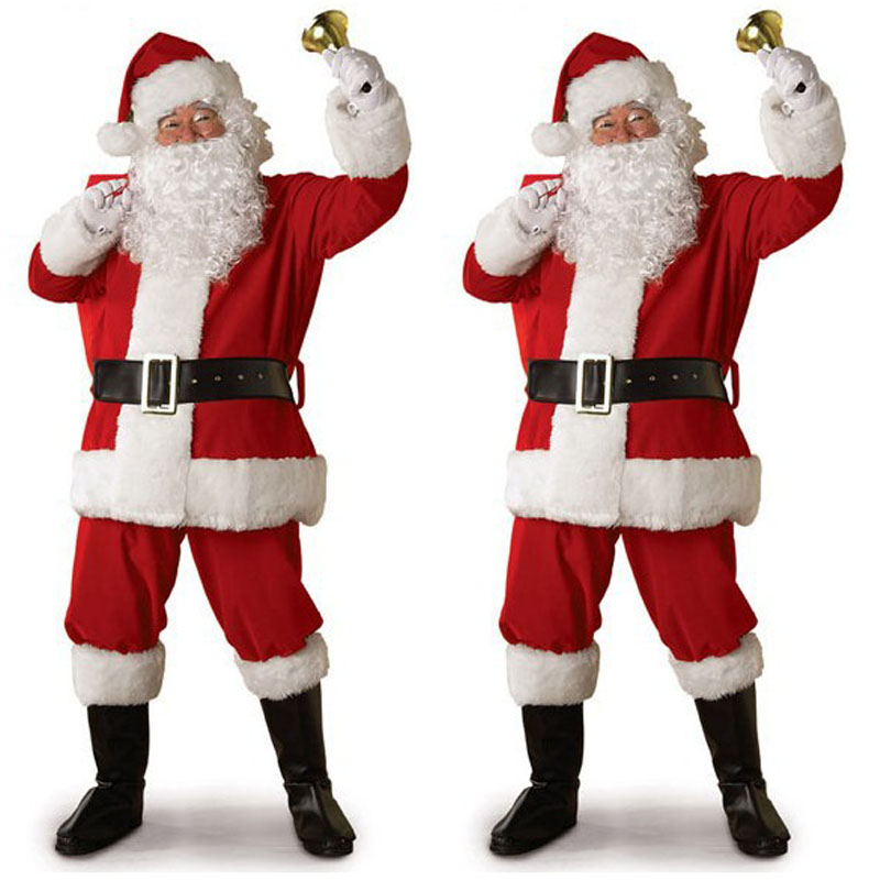 Women Men Santa Claus Suit Deluxe Father Christmas Fancy Costume Dress Cosplay~