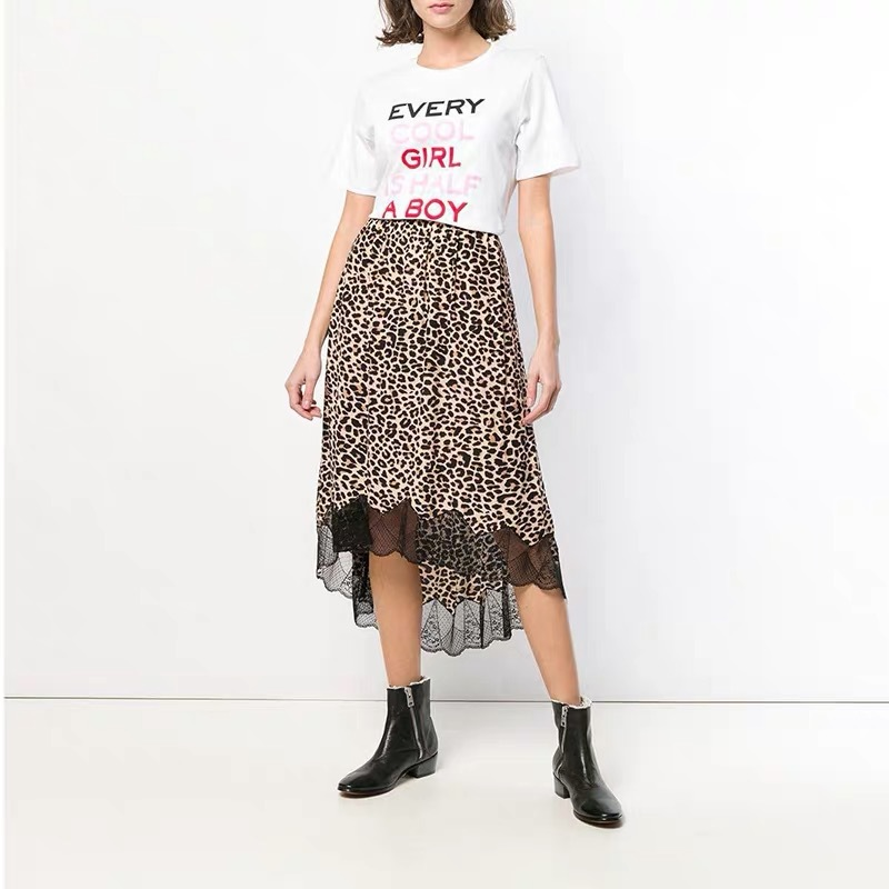 Women Skirt Leopard Print Lace Half Skirt Short and Long Front Design Retouched Figure Stitched Lace Elasticated Waist Skirt