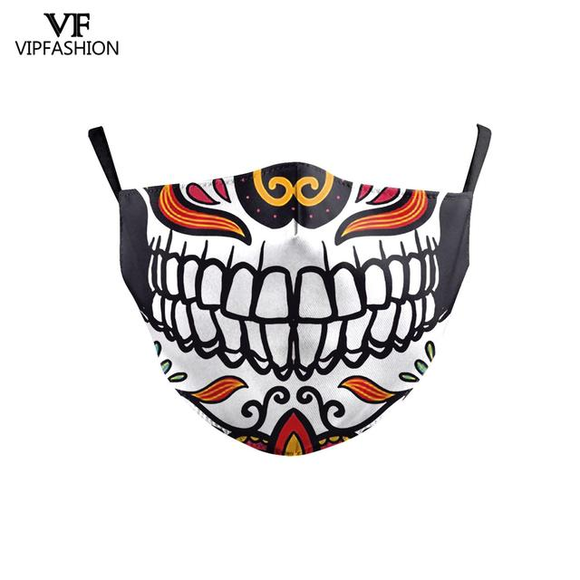 VIP FASHION Children's Mouth Mask Halloween Horror Skull Printed Anti Dust PM2.5 Double Layer Mouth-muffle Reusable Washable 1