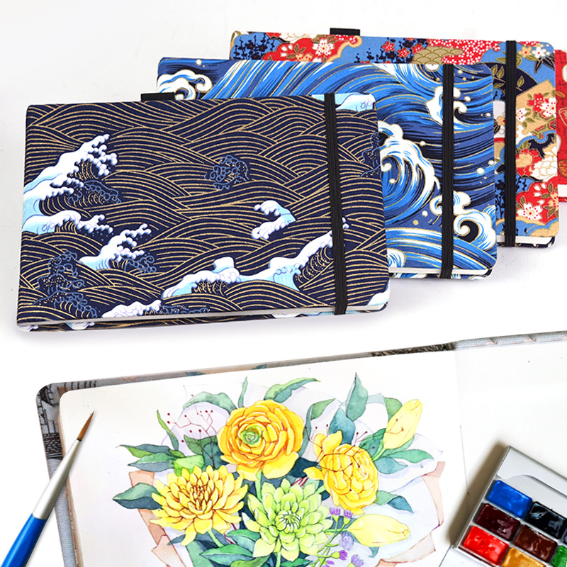 220g Japan Cotton Watercolor Paper Drawing Book 21*13.5cm Travel Hand Book Sketch Pad Hot Stamping Sketchbook Painting N666