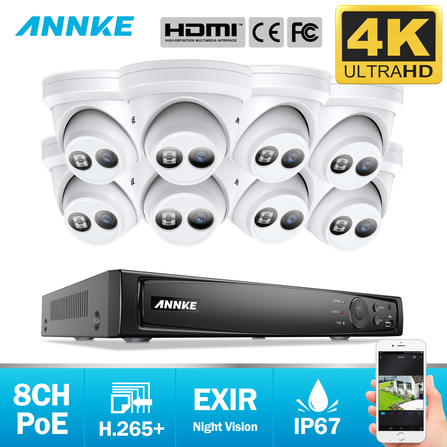 ANNKE 8CH 4K Ultra HD POE Network Video Security System 8MP H.265+ NVR With 8X 8MP 30m EXIR Night Vision Weatherproof IP Camera