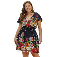 New Vintage Flower Women Party Dress Casual Female Plus Size 3XL 4XL Deep V Neck Short Sleeve Floral Printed Summer Vadim