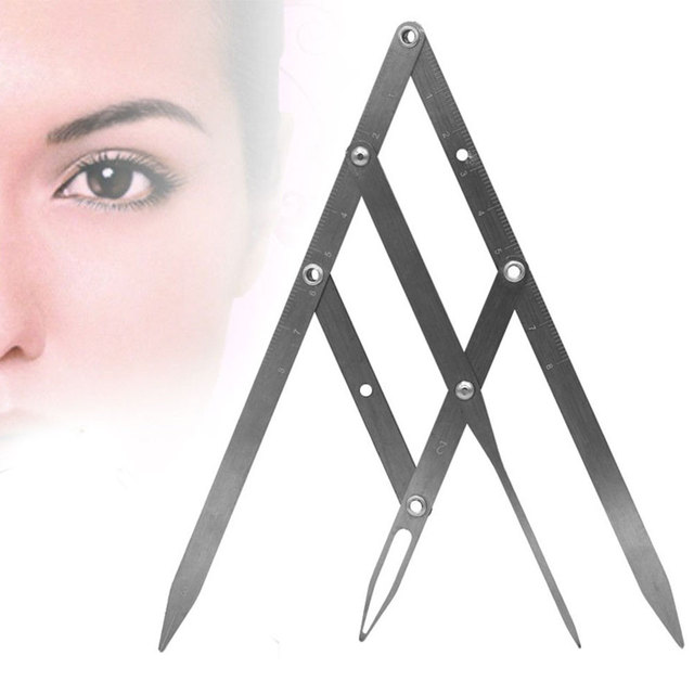 Reusable Portable Calipers Stencil Stainless Steel Golden Ratio Fordable Eyebrow Ruler Design Measure Makeup Tool Precisely 2