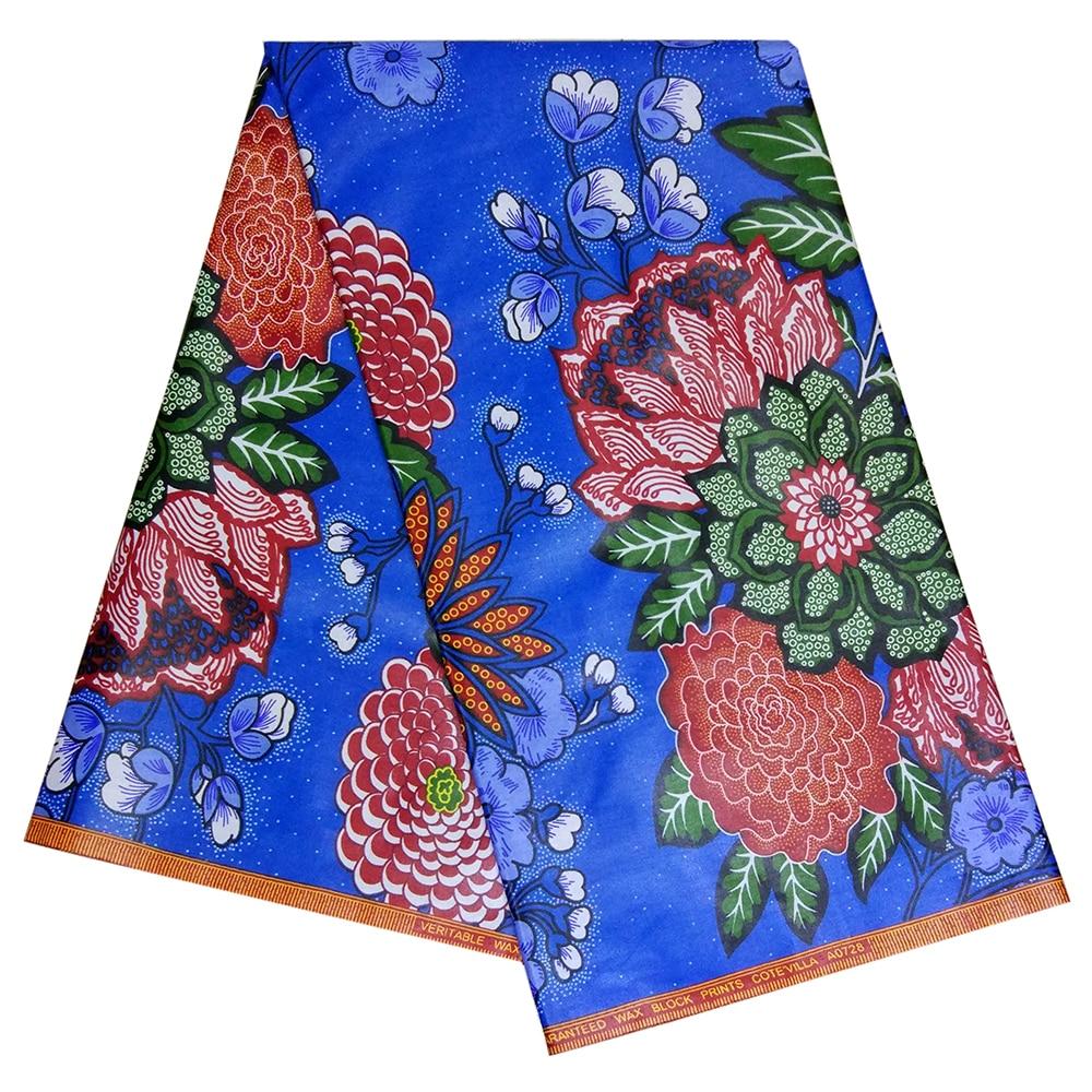 100% Cotton African Fabric Nigerian Ankara Veritable Wax African Flowers Prints Fabric 6 Yards