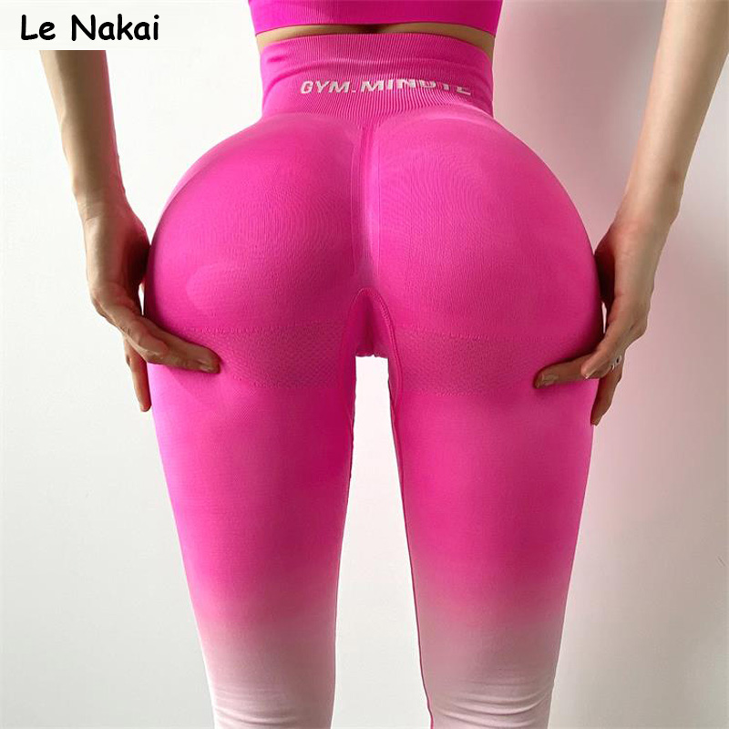 New ombre seamless leggings for women high waist yoga pants sexy booty legging scrunch butt pink fitness legging sports tights|Yoga Pants| - AliExpress