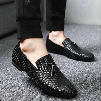 2019 mężczyźni splot mokasyny do jazdy wygodne wsuwane buty mokasyny męskie obuwie skórzane mokasyny buty biurowe duże rozmiary M1-91 tanie i dobre opinie NoEnName_Null CN (pochodzenie) Na wiosnę jesień Dobrze pasuje do rozmiaru wybierz swój normalny rozmiar Stałe oddychająca