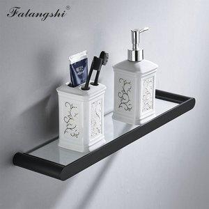 Image 3 - Falangshi Juego de accesorios de baño, toallero de alta calidad con acabado negro, soporte para papel higiénico, jabonera montada en la pared, WB8846