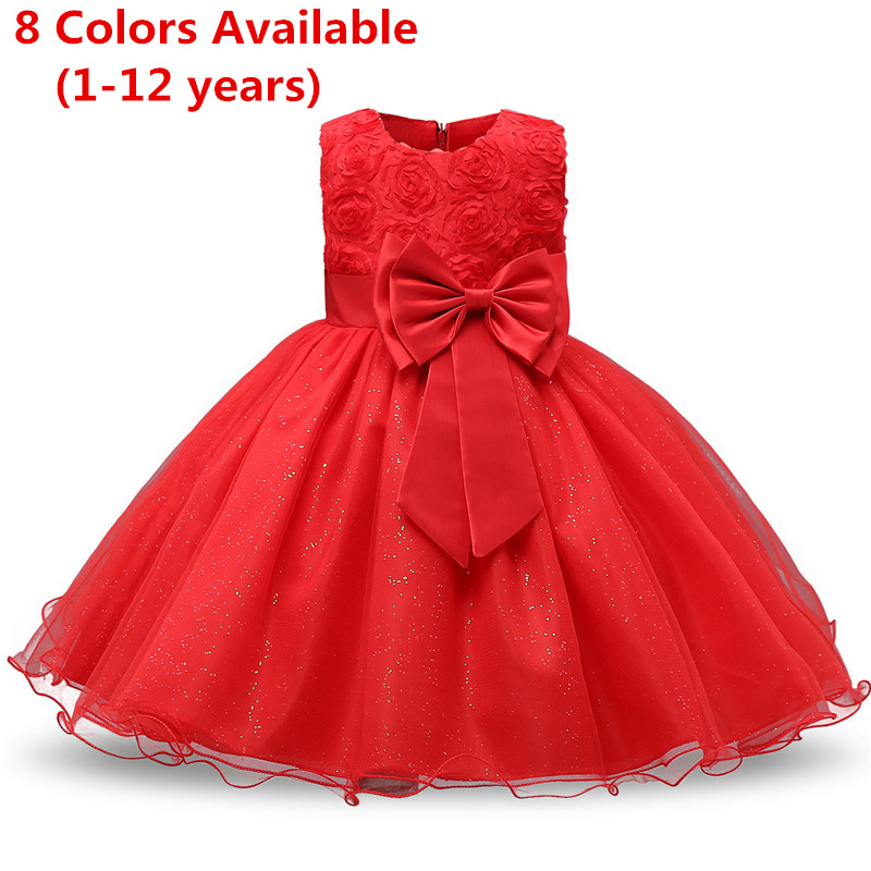 Summer Flower Bow Girl Dress Wedding Birthday Party Kids Dress For Girls Tutu Embroidery Princess Formal Dress Baby Girl Clothes 1