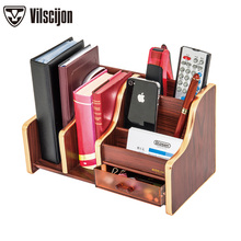 Pen holders New Fashion Luxury Wood Multi-function Desk Storage Box Office Supplies Stationery Vilscijon C2024