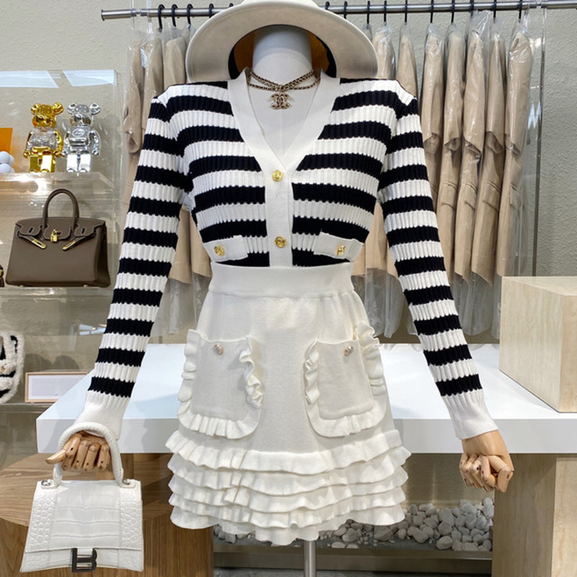 Causal Knitted Sweater 2 Piece Set Women Outfits Striped Long Sleeve Elegant Cardigan Top + Pleated Mini Skirts Two Piece Suits 1