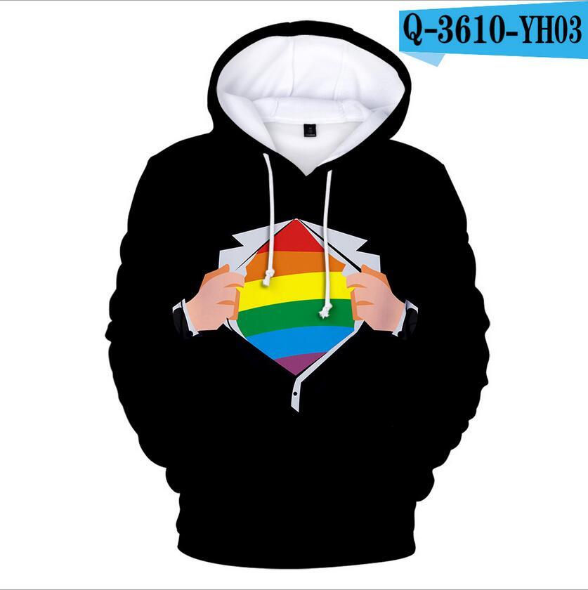 Colorful Rainbow LGBT Hoodies Sweatshirt Men Women For Lesbian Gay Pride LGBT Hoodie Fashion Casual Pullover Hooded Sweatshirts 17