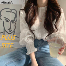 Camisas florales con volantes para mujer, blusa elegante de talla grande 3XL de estilo coreano para primavera y otoño
