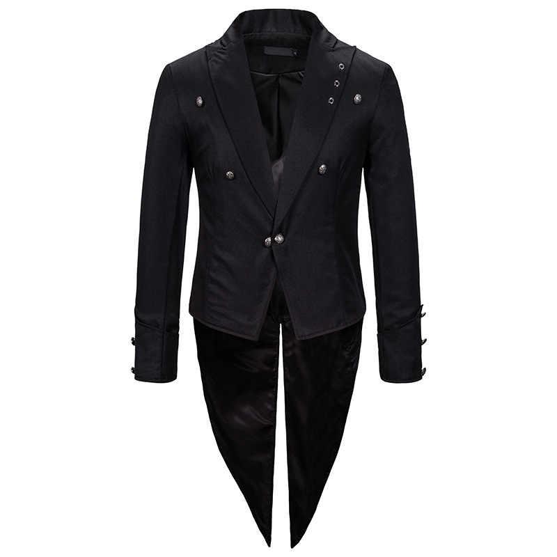 Hombres negro Steampunk chaqueta FRAC gótico victoriano Tailcoat hombres Delgado ajuste Blazer hombres fiesta Cosplay graduación etapa disfraz para cantantes