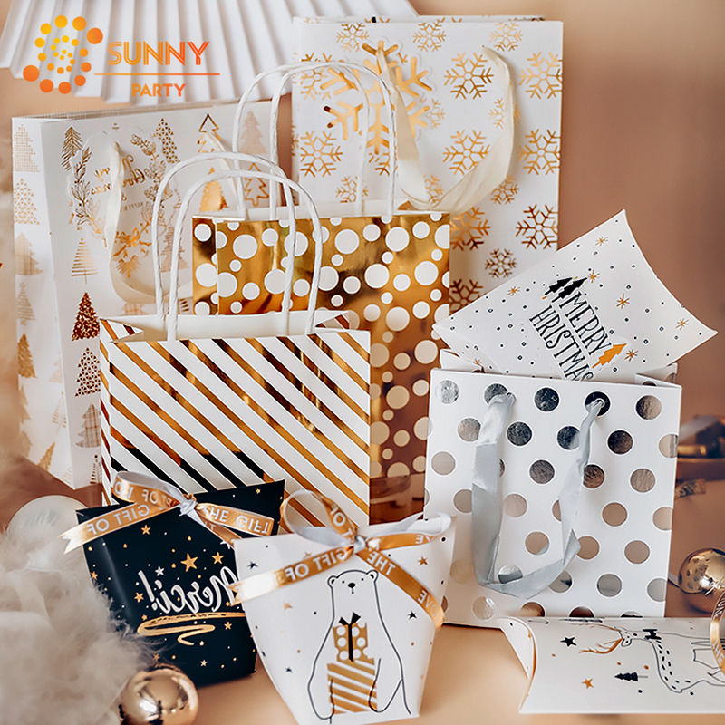 Luxury Gold Color Stripe Round Dot Tote Bag Elk Snowflake Paper Package Bags Birthday Anniversary Gift Packaging Party Supplies