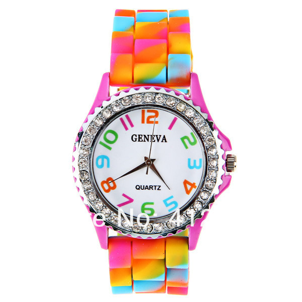 New !New Geneva Rainbow Crystal Rhinestone Watch Silicone Jelly Link Band