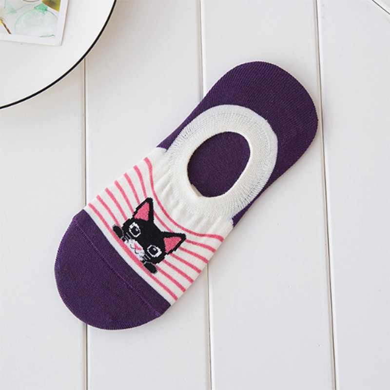 1 쌍 사랑스러운 만화 고양이 디자인 여성 Antiskid 양말 슬리퍼 귀여운 보이지 않는 양말 면화 비 슬립 보트 양말 그릴 PD0138