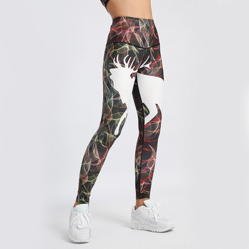 Hsu Hot Sales Women's Christmas Deer Print Leggings Fitness High Waist Yoga Athletic Pants Sports Free Shipping