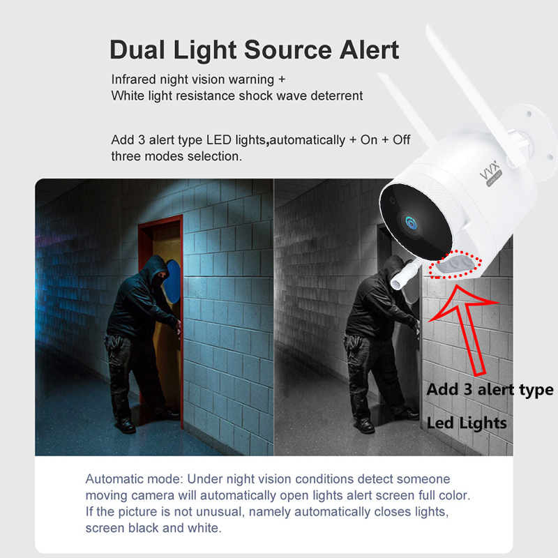 Mijia Xiaovv Outdoor Camera Pro Verison 1080P HD Wifi Cam 150° Wide Angle IP65 Infrared Night Vision Add 3PCS LED Warning Lights