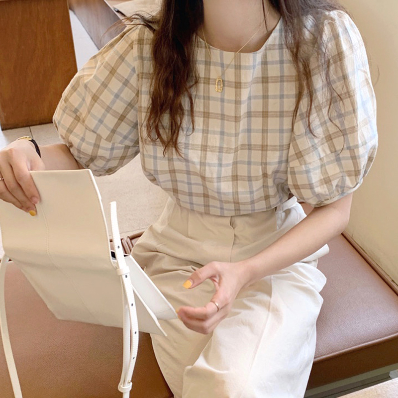 Korean Chic Plaid Blouse Women Summer Retro France Classic Puff Sleeve Top Loose Casual Short Sleeve Shirt Female Clothing image