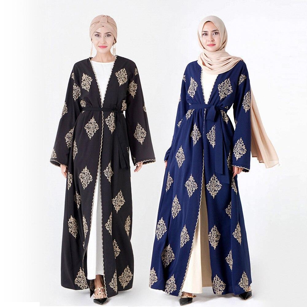 Luxury Muslim Embroidery Abaya Full Dress Elegant Cardigan Kimono Long Robe Gowns Jubah Middle East Eid Ramadan Islamic Prayer