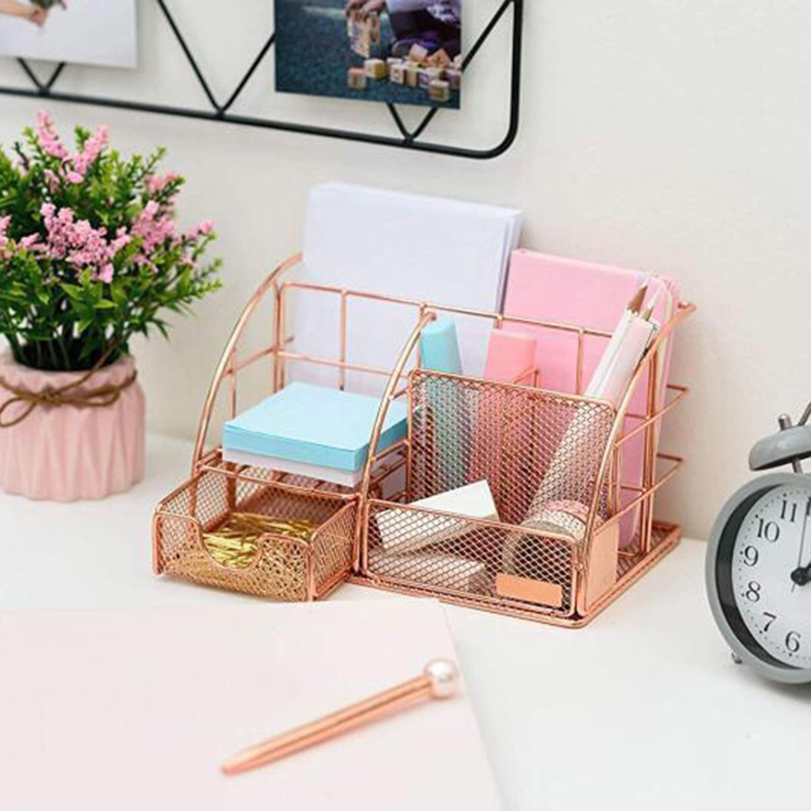 Mesh Office Supplies Home Desk Organizer Accessories With Drawer For Home Office Desktop Rose Gold Étagère de support de stockag