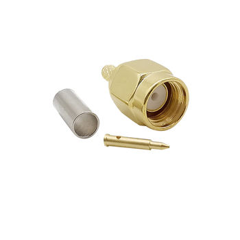 SMA Male Plug Crimp Solder Connector Brass Gold plated RF Coaxial Straigh Adapter for RG316 RG174 LMR100 Cable Wire image