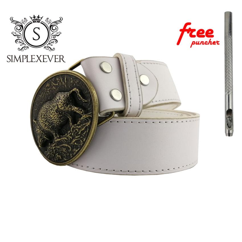 Western Wild Boar Belt Buckle For Men Solid Brass Belt Buckle Head With PU Belt As Cowboy's Gift