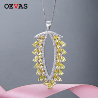 Luxury brand S925 Silver Yellow AAA CZ leaf Pendant Necklaces for women Elegant 16' box Chain Wedding Engagement party jewelry