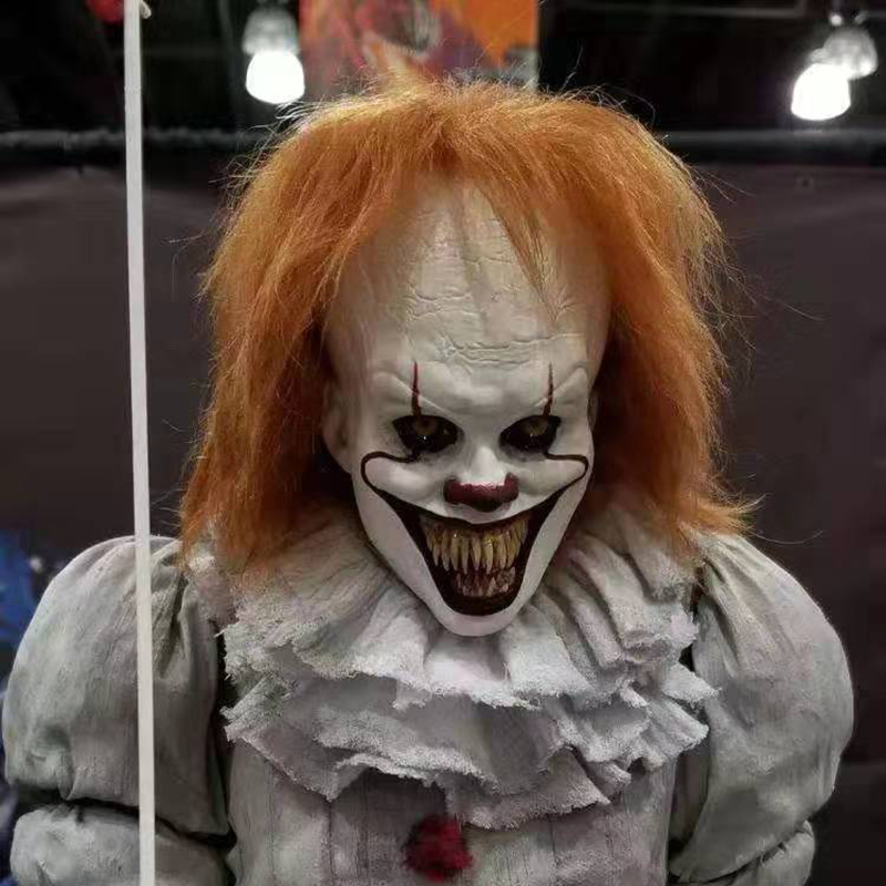 Deluxe Pennywise  Clown IT Chapter 2 Cosplay Mask Joker Halloween Fancy Party Prop