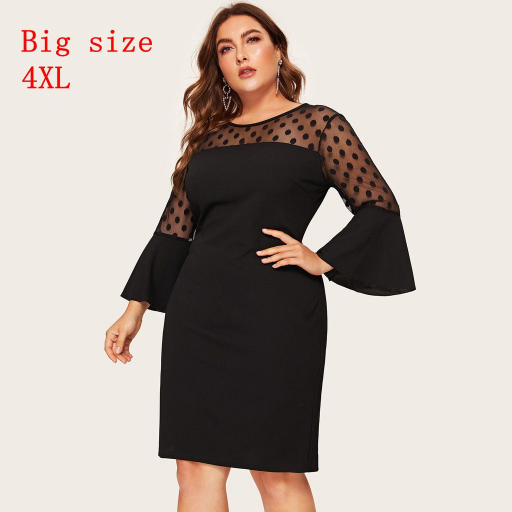 Plus Size Elegant Polka Dot Mesh Patchwork Dress Women 2020 Spring Hem Slit Pencil Dresses Ladies Bell Sleeve Dress
