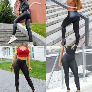 Image 2 - Women Plus Size Faux Leather Pants Black High Waist Lady Female Sexy Skinny Stretchy Trousers Tights for Club Party Casual S 5XL