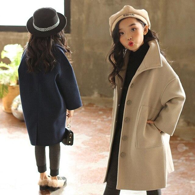 Mère & filles manteau en laine enfants décontracté veste automne hiver Long enfants simple rangée bouton manteau en laine vêtements de famille P145