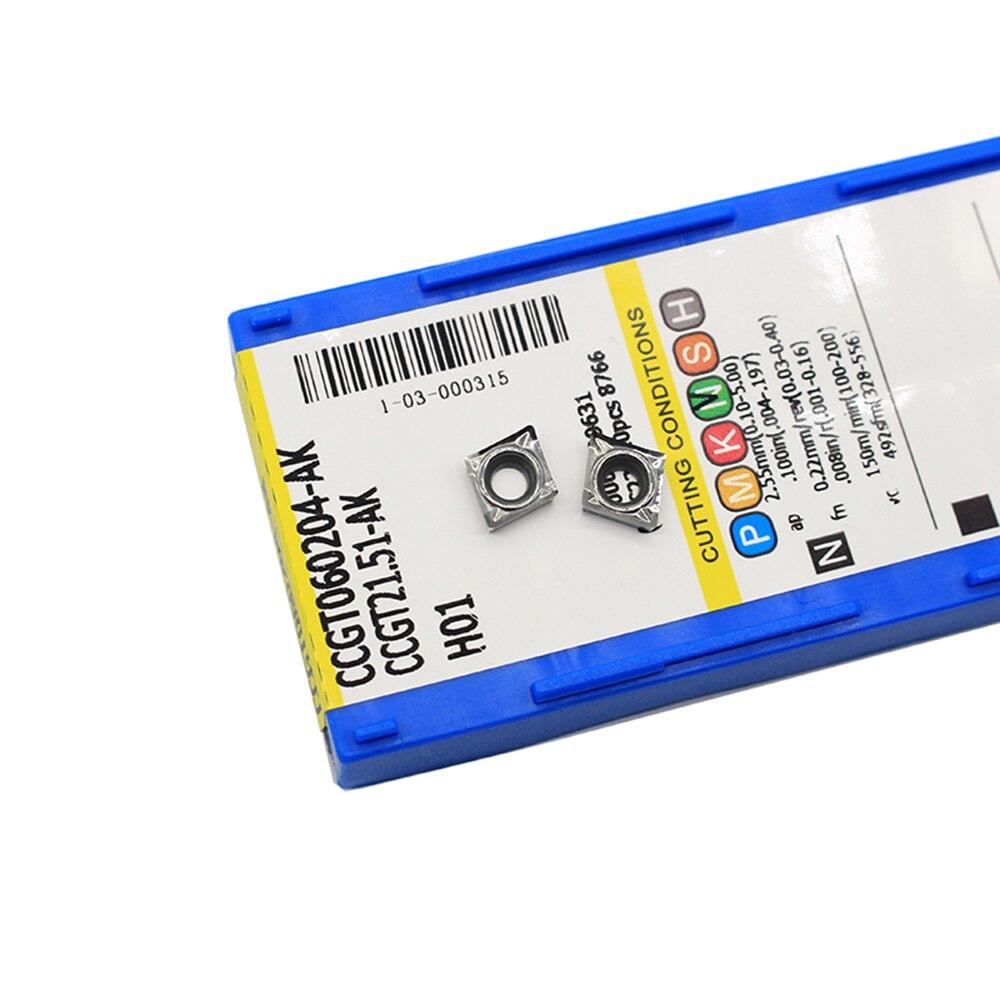 CCGT060204-AK H01 Carbide inserts Cutter blade CCMT0602 for Aluminum 10PCS