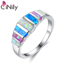 CiNily, радужные кольца с большим огненным опалом, с камнем, посеребренные, голубые, белые, розовые, цветные, обручальное кольцо на палец, летние ювелирные изделия для женщин и девушек